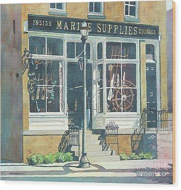 Marine Supply Store Wood Print by LeAnne Sowa