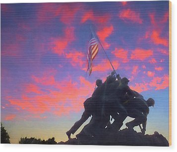 Marines At Dawn Wood Print by JC Findley