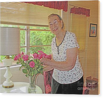 Marion Loves Roses Wood Print by Fred Jinkins