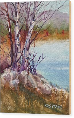 Wood Print featuring the painting Mari's Birches by Kris Parins
