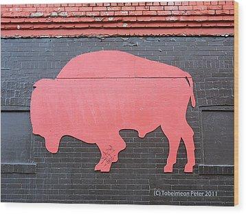 Maris' Bison Wood Print by Tobeimean Peter