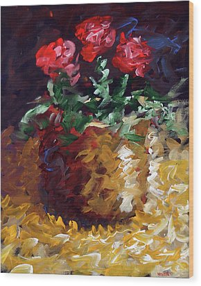 Wood Print featuring the painting Mark Webster - Abstract Electric Roses Acrylic Still Life Painting by Mark Webster