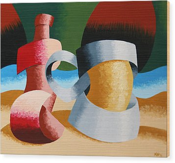 Mark Webster - Abstract Futurist Beer Mug And Bottle Wood Print
