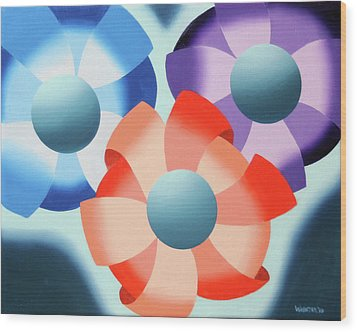 Wood Print featuring the painting Mark Webster - Abstract Futurist Flowers 2 Oil Painting  by Mark Webster
