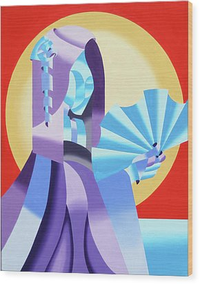 Mark Webster - Abstract Futurist Geisha Wood Print