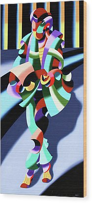 Mark Webster - Abstract Futurist Modern Woman In Tokyo Wood Print by Mark Webster