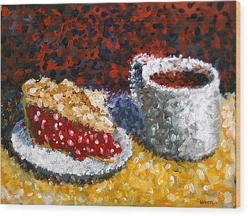 Mark Webster - Impressionist Cherry Pie With Coffee Acrylic Still Life Painting Wood Print by Mark Webster