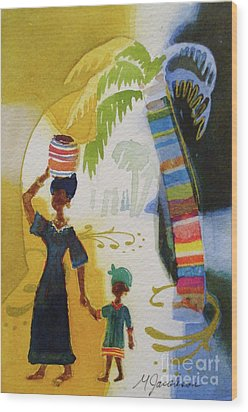 Market Day Wood Print by Marilyn Jacobson