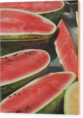 Wood Print featuring the photograph Market Melons by Michael Flood