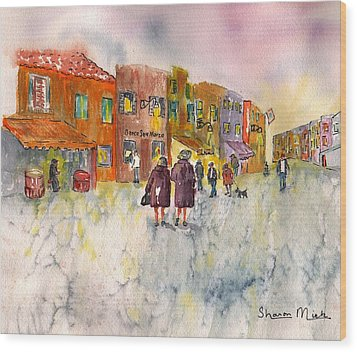 Wood Print featuring the painting Market Place In Borano by Sharon Mick