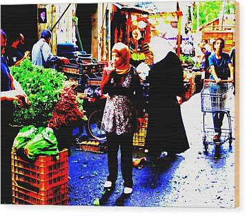 Market Scenes Of Beirut Wood Print by Funkpix Photo Hunter