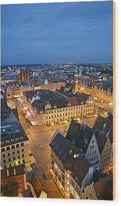 Market Square In The Old Town Of Wroclaw Wood Print by Guy Vanderelst