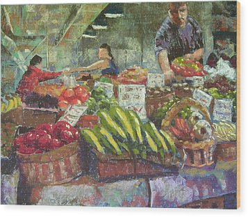 Market Stacker Wood Print by Mary McInnis