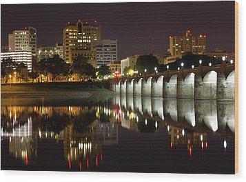 Market Street Bridge Reflections Wood Print