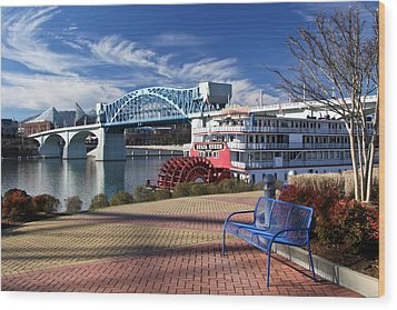 Market Street Bridge With The Delta Queen From Coolidge Park Wood Print by Tom and Pat Cory