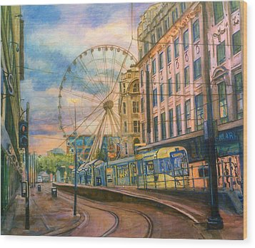 Market Street Metrolink Tramstop With The Manchester Wheel  Wood Print