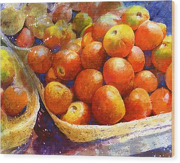 Market Tomatoes Wood Print by Andrew King