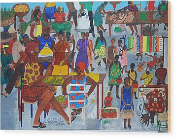 Marketplace Jacmel Haiti Wood Print by Nicole Jean-Louis