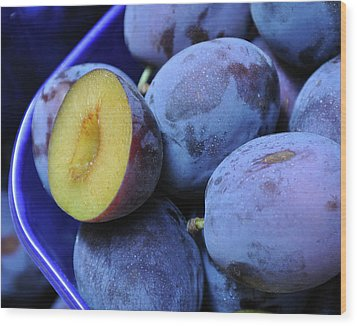 Marketplace Plums Wood Print