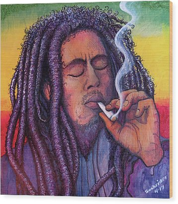 Wood Print featuring the painting Marley Smoking by David Sockrider