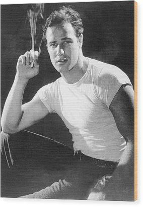 Marlon Brando, Portrait From A Wood Print by Everett