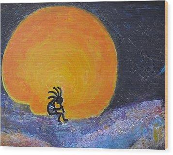 Marmalade Orange And Yellow Moon And Kokopelli Wood Print by Anne-Elizabeth Whiteway