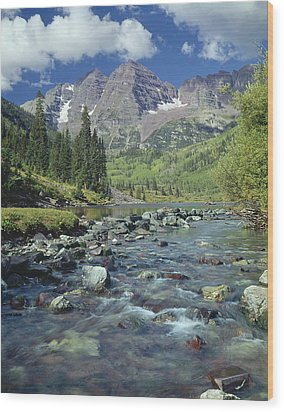 210404-maroon Bells And Creek  Wood Print