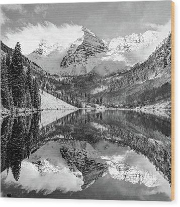 Maroon Bells - Aspen Colorado - Monochrome - American Southwest 1x1 Wood Print by Gregory Ballos