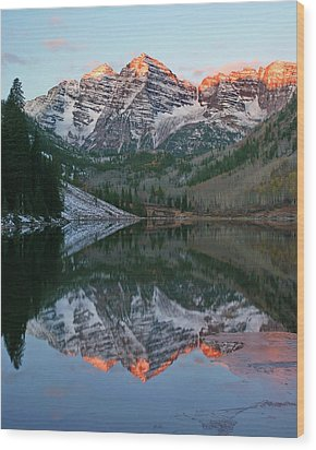 Wood Print featuring the photograph Maroon Bells At Sunrise by Harold Rau
