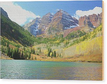 Wood Print featuring the photograph The Maroon Bells Reimagined 2 by Eric Glaser