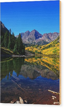 Maroon Bells In Aspen 2 Wood Print by Bruce Hamel