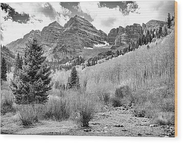 Wood Print featuring the photograph Maroon Bells Monochrome by Eric Glaser