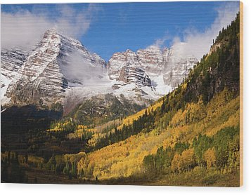 Wood Print featuring the photograph Maroon Bells by Steve Stuller