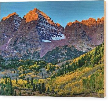 Maroon Bells Sunrise Wood Print by Harry Strharsky