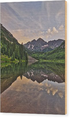 Maroon Bells Sunset - Aspen - Colorado Wood Print by Photography  By Sai