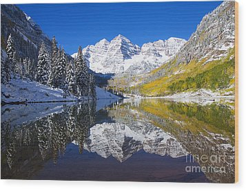 Maroon Lake And Bells 1 Wood Print by Ron Dahlquist - Printscapes