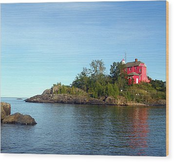 Marquette Harbor Lighthouse Reflection Wood Print