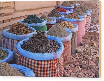 Wood Print featuring the photograph Marrakech Spice Market by Ramona Johnston