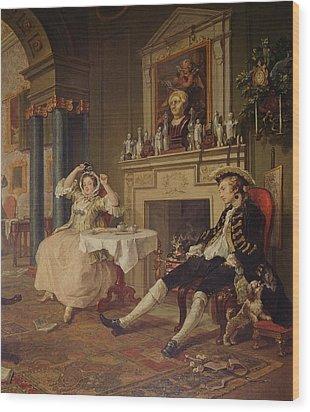 Marriage A La Mode II The Tete A Tete Wood Print by William Hogarth