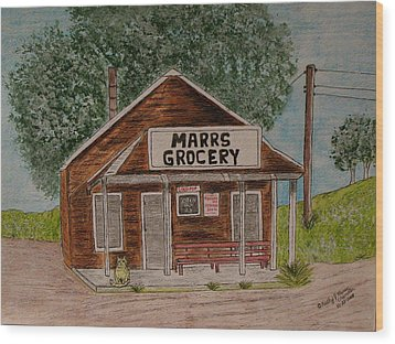 Wood Print featuring the painting Marrs Country Grocery Store by Kathy Marrs Chandler