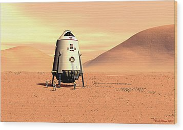 Wood Print featuring the digital art Mars Lander Ares First Steps by David Robinson