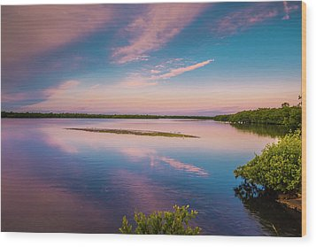 Marsh At Sunrise Wood Print by Steven Ainsworth