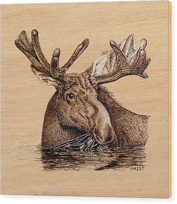Marsh Moose Pillow/bag Wood Print by Ron Haist