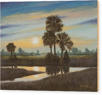 Marsh Sunset Wood Print by Rick McKinney