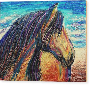 Marsh Tacky Wild Horse Wood Print by Patricia L Davidson