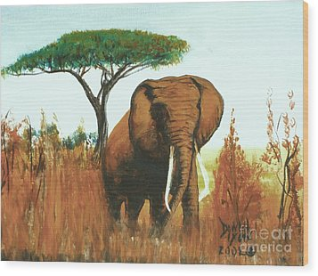Wood Print featuring the painting Marsha's Elephant by Donna Dixon