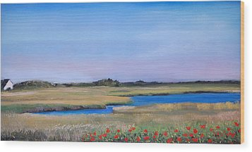 Wood Print featuring the pastel Marshside by Cindy Plutnicki