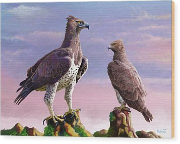 Martial Eagles Wood Print by Anthony Mwangi