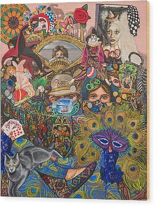 Martigras Masquerade Wood Print by Bonnie Siracusa