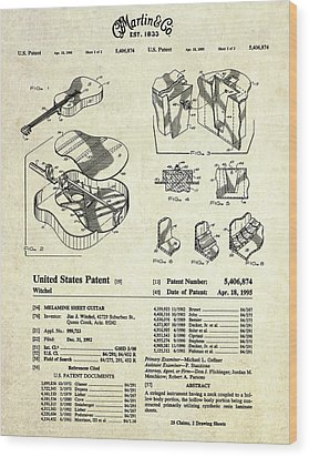 Martin Guitar Patent Art Wood Print by Gary Bodnar